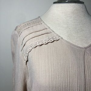 Christopher & Banks gauze pleated front top blouse